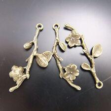 **02588 Antiqued Bronze Vintage Alloy Flower Tree Branch Pendant Charms 10pcs