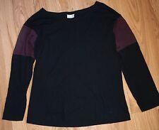 Dries Van Noten Black Cotton Top Burgundy Insert  Long Sleeve S Uk 8 FR 36