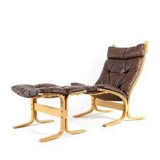 Rétro Vintage en cuir d'Ingmar Relling Siesta chaise longue fauteuil + tabouret Danois