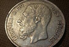 BELGIUM - SILVER - 5 FRANCS - KING LEOPOLD II - YEAR 1868