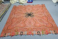 "ANTIQUE EUROPEAN JACQUARD  PAISLEY WOVEN WOOL SHAWL THROW TABLECLOTH 74"" SQUARE"