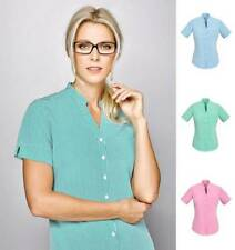 Polyester Career Short Sleeve Button Down Shirts for Women