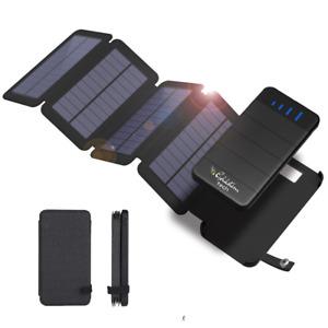 Goldstern 2in1 abnehmbare faltbare Solarpowerbank Lederhülle 10000mAh Solarpanel