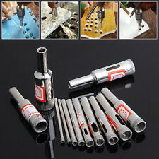 11Pcs 3-14mm Diamond Coated Core Saw Hole Drill Tool Set For Glass Marble Tiles