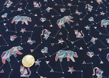 Constellation Hilco dunkelblau altrosa Baumwoll-Stretch-Jersey Stoff 25 cm