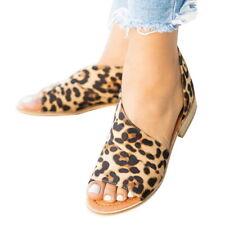 72d37aa5c915 Womens Leopard Print Peep Toe Low Heel Sandals Ladies Summer Casual Shoes  Size