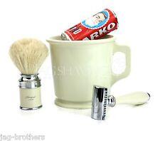 4 Piezas Afeitar conjunto de marfil color Taza maquinilla de afeitar, brocha de afeitar & Arko afeitado jabón