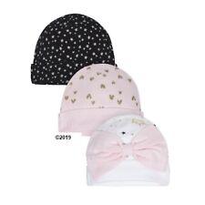 Gerber Baby Girl 3-Piece Organic Pink/Black Princess Caps Size Newborn