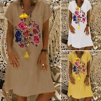 Women Short Sleeve V Neck T-Shirt Dress Floral Print Long Shirt Dress Sundress