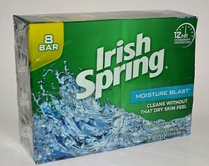 8 BAR IRISH SPRING MOISTURE BLAST DEODORANT SOAP BAR BARS WASH CLEAN NO DRY SKIN