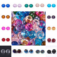 100Pcs No Core Glass European Rondelle Large Hole Beads Jewelry Making 15x10mm