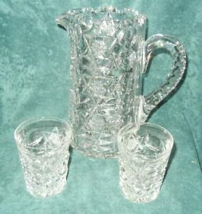 """SIGNED HAWKES 9"""" PITCHER & (2) TUMBLERS STAR OF DAVID & THUMBPRINT PATTERN"""