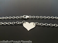 """Sterling Silver Bracelet Or Ankle Chain Anklet Heart Charm 7"""" 8"""" 9"""" 10"""" 11"""" 12"""""""