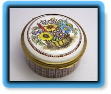 BB Bilston Battersea Enamel Round Trinket Box England Halcyon Days Bunch Flowers