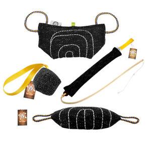 Dog Bite Tug Pillow Chew Toys Pet Training Jute Stick Whip Agitation Solid Black