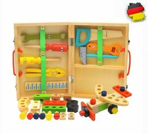 Kinder Werkzeug Laubsägekasten Werkzeugkasten Holz Werkzeugkoffer Zubehör