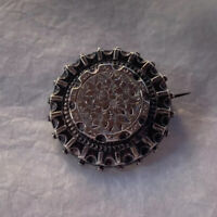 Antique Victorian Brooch 1870s Aesthetics Movement Style Etched White Metal Pin