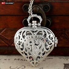 Chain Pocket Watch Vintage Steampunk Heart Gift Antique Quartz Silver Necklace