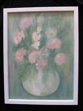 AUTHENTIC vintage OIL PAINTING chic PINK FLOWERS vase white wood FRAME original
