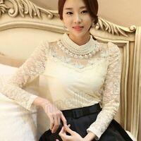 Women Elegant Slim Long Sleeve Bodysuit Beaded Crochet Lace Blouse Shirt Fashion