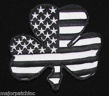 IRISH AMERICAN USA FLAG SHAMROCK LUCKY CLOVER US ARMY BLACK OP SWAT VELCRO PATCH
