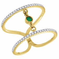Green Emerald & Diamond Fashion Ring Ladies 14K Yellow Gold Round Cut 0.30 Ct.
