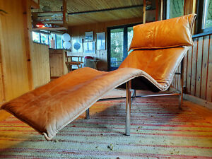 Lounger Leather Vintage Daybed 60er Recamiere Danish Relax Chaise Longue 70er