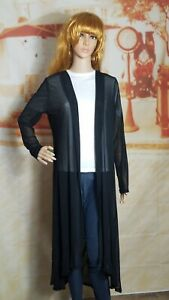 POGTMM Womens Open Front Maxi Cardigan Duster Black Sheer Long Sleeve Size L