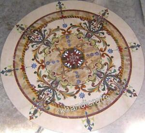 60 Inches Marble Restaurant Table Top Pietra Dura Art Dining Table Handmade