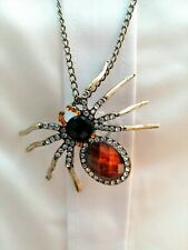 DECORATIVE DIAMANTE JET BLACK + AMBER STYLE GEMS SPIDER PENDANT LONG NECKLACE