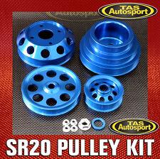 UNDERDRIVE LIGHTWEIGHT PULLEY KIT, Nissan S13 S14 S15 SR20DET 4pc BLUE