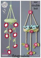 KING COLE 9037 FLOWERS/BIRDS BABY MOBILES ORIGINAL CROCHET PATTERN - DK