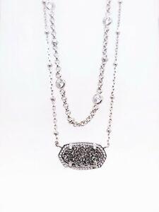 NEW KENDRA SCOTT Rhodium 080 Elisa Multi Strand Platinum Drusy Pendant Necklace