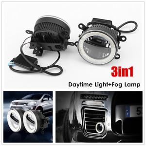 2PCS/set Car LED Fog Lamp Angel Eye Aperture Daytime Light Front Bumper Lighting