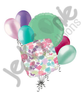 7 pc Spring Flowers on Clear Balloon Bouquet Decoration Happy Birthday Baby