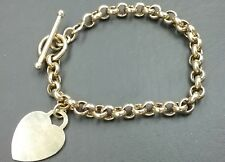 Cable Link Heart Charm Bracelet Sterling Silver 14K Gold Plated