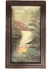 Antique Oil Painting Landscape Outsider Arts Crafts Wood Frame Signed D. Houston