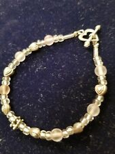 frosted & clear glass beads Bracelet: Womens Girls silvertone heart clasp