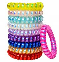 6 Pk SPIRAL HAIR BANDS BOBBLES Girls Ponytail Bobble Bands (various Colours)