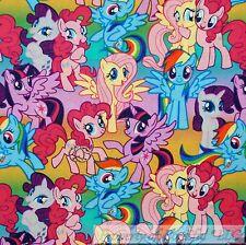 BonEful FABRIC Cotton Quilt Rainbow Pink LITTLE PONY Girl Dress Star Horse SCRAP