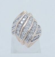 10K Yellow Gold 1.00ctw G-SI1 Round Cut Natural Diamond Wrap Cocktail Ring 6.5