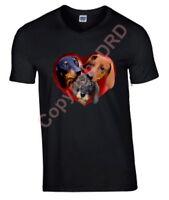 Dachshunds in Heart Tshirt, T-shirt Crew Neck V Neck Birthday Gift