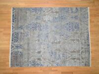 "8'x10'4"" Silk with Oxidized Wool HandKnotted Transitional Rug G40854"