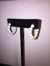 antique NATURAL creamy white w/pink blush CORAL & 14k gold HOOP EARRINGS pierce
