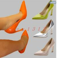 Sexy Womens Pointed Toe Stilettos Patent Special Heel Pump Low Top Shoes Colors