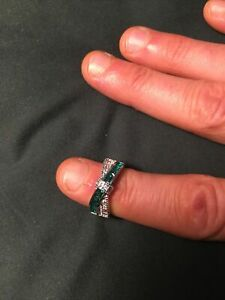 Rich Green Emerald and White Ring size 6