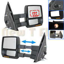 PAIR POWER TOW MIRRORS-PTM BLACK~MEMORY+HEATED+LED SIGNAL+PUDDLE~07-14 FORD F150