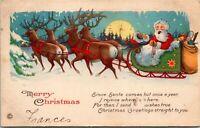 Vintage 1920 Santa Claus with Reindeer and Sleigh, Merry Christmas Postcard