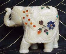 Handcrafted White Marble Elephant Mozaic Inlaid with Semi precious Stones India