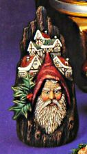 CERAMIC BISQUE CHRISTMAS CARVED SANTA FACE ON WOOD STUMP - READY TO PAINT